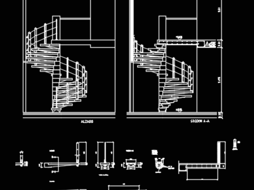 Metal spiral staircase - details