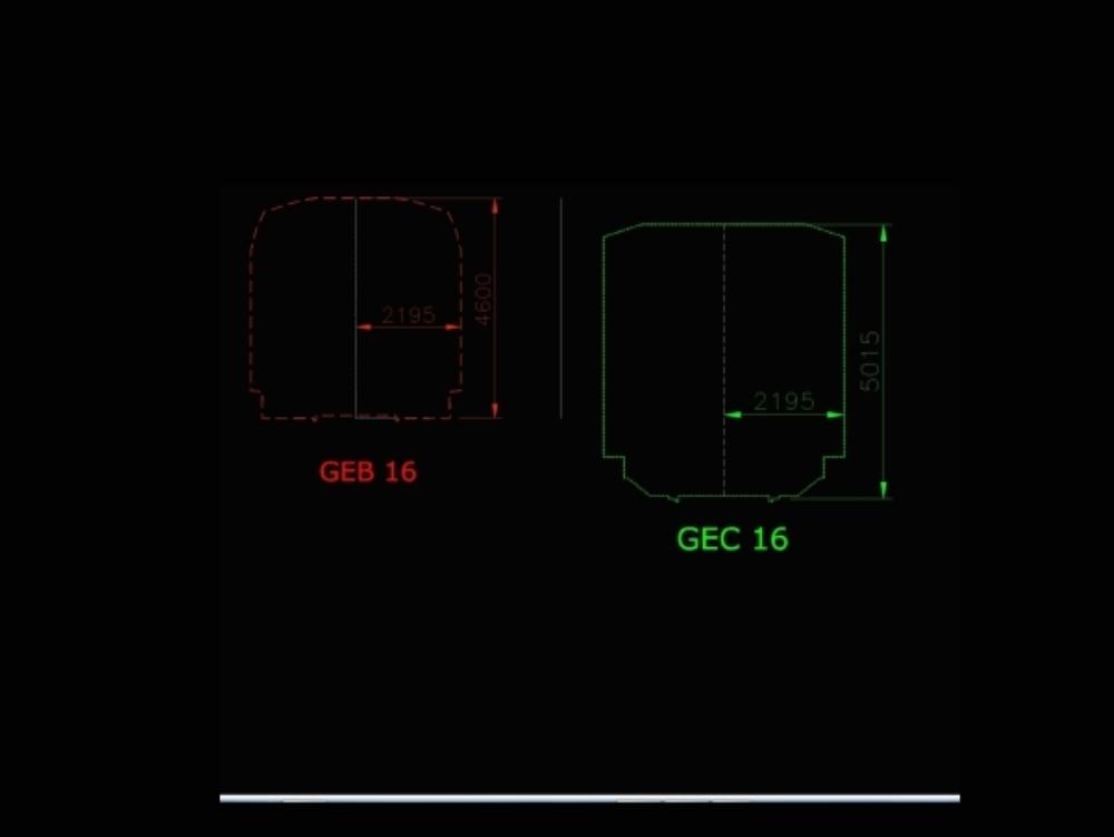 Gálibo geb 16 para ancho de vía 1668 mm