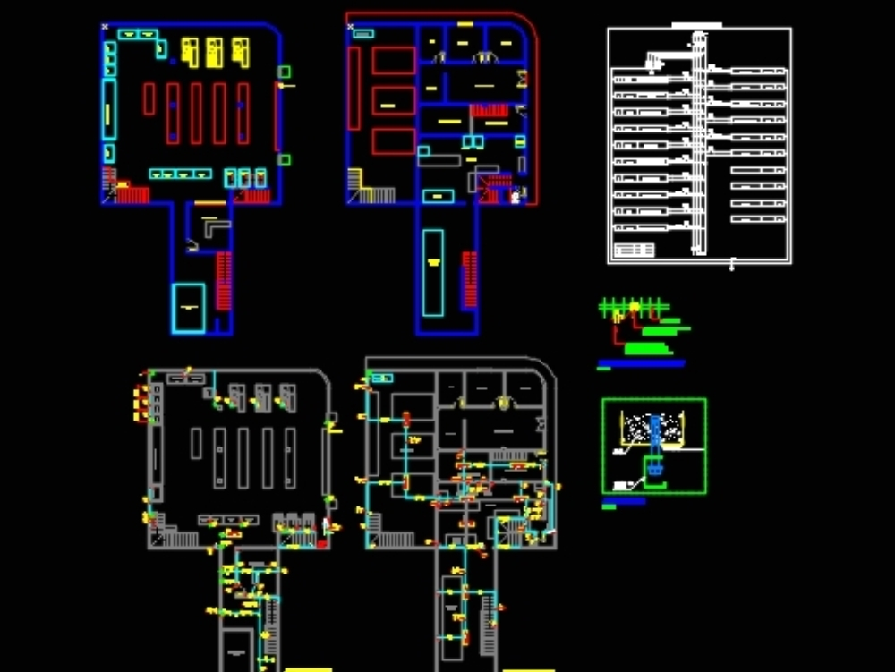 Diseño eléctrico mercado con esquema general cuadros y descripciones