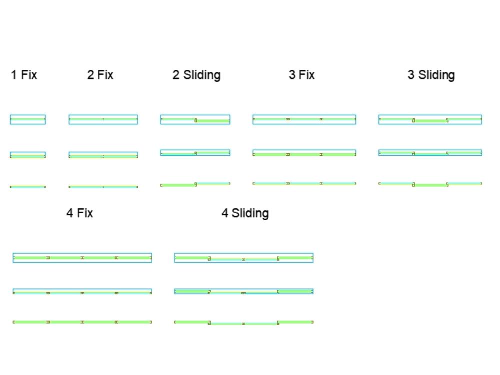Ventanas de bloque dinámico con detalle simple.