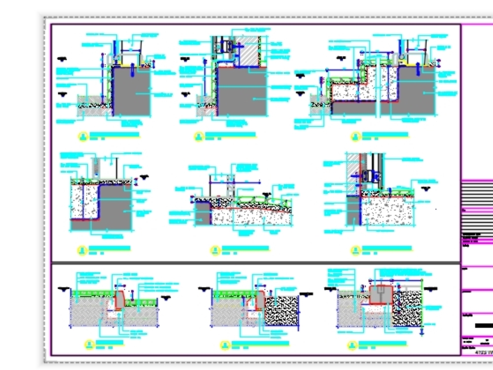Technical drawing details curtain wall and ceiling and cladding