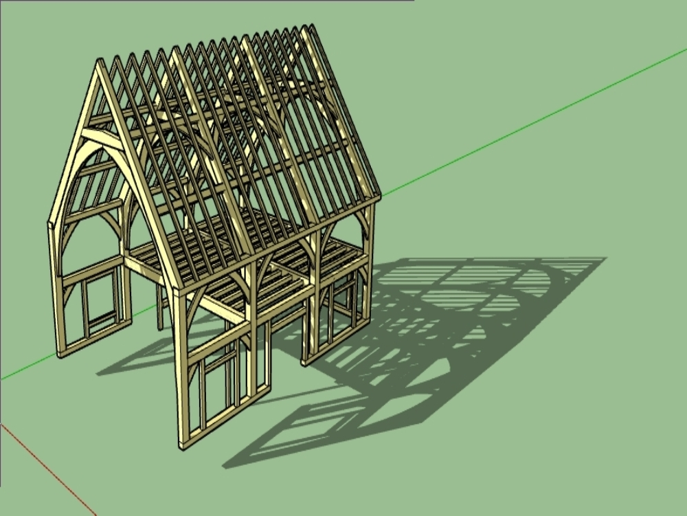 Arco en madera roble de vivienda a 2 aguas