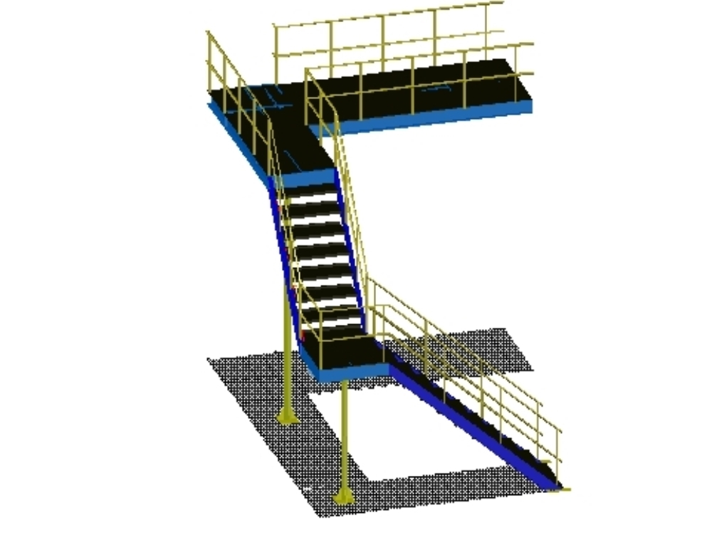 3d staircase in l with railings and details