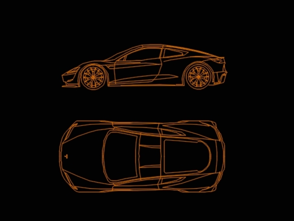 Tesla rodster dwg kesit görünü