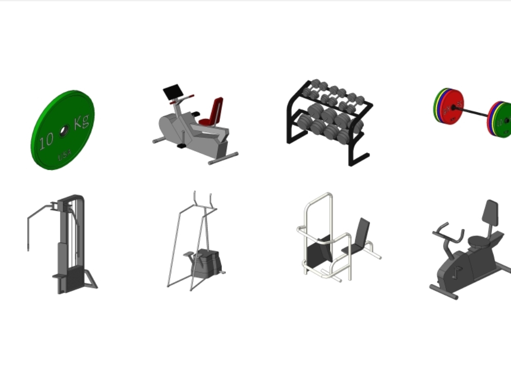 Pack of 58 objects for gym equipment