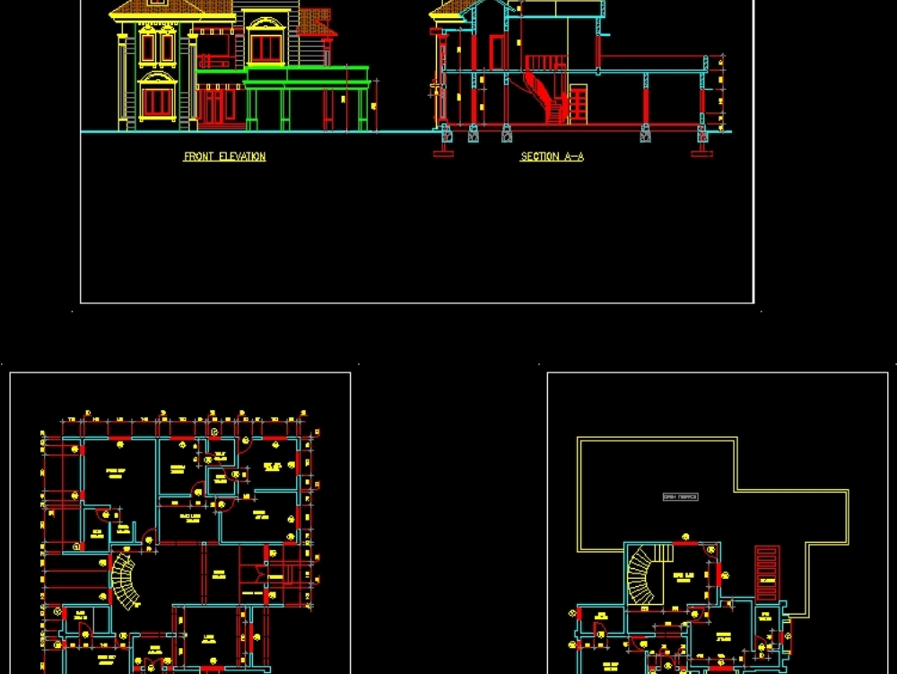 Plano de planta de villa de estilo indio con vista 3d