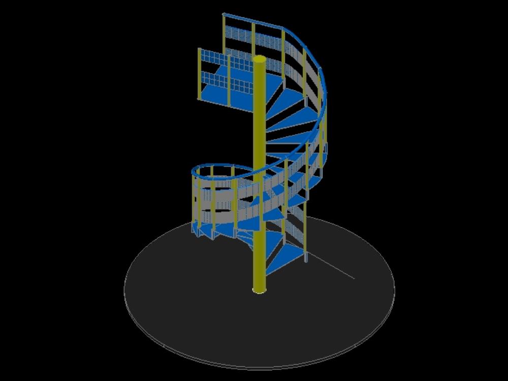 Escalera  giratoria 3d en autocad 2015