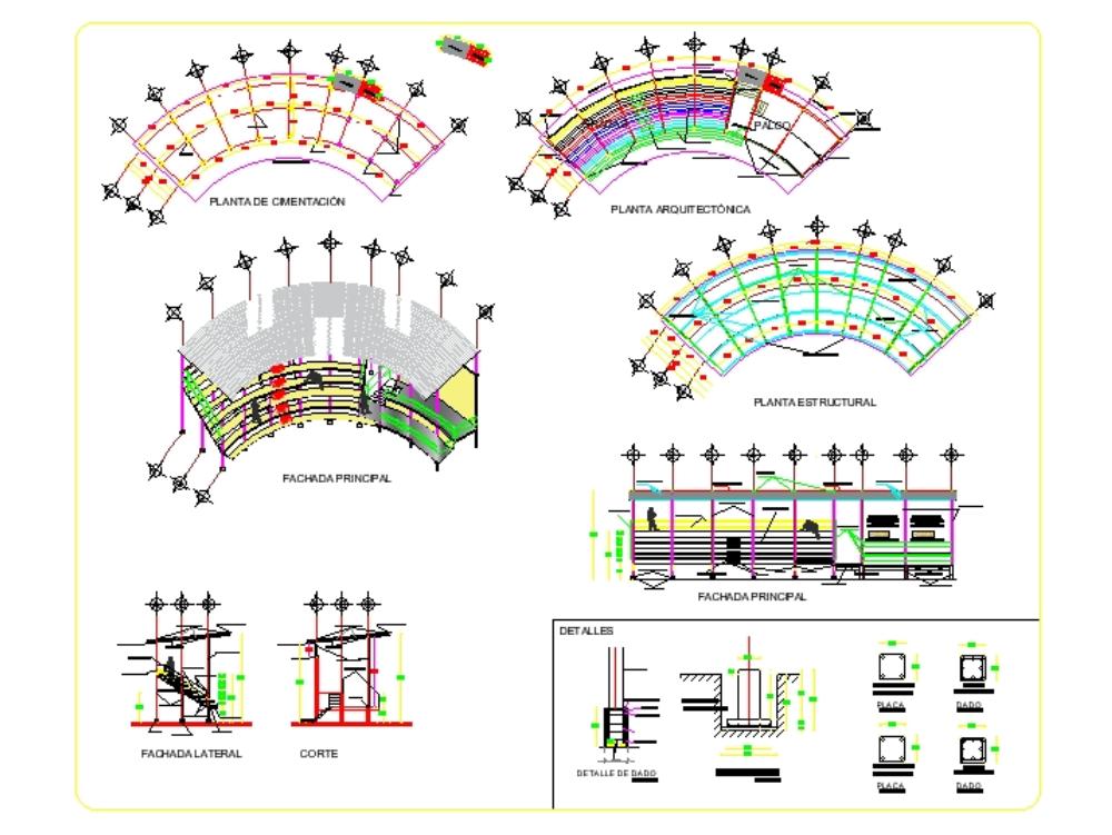 Plaza de toros plano arquitectonico