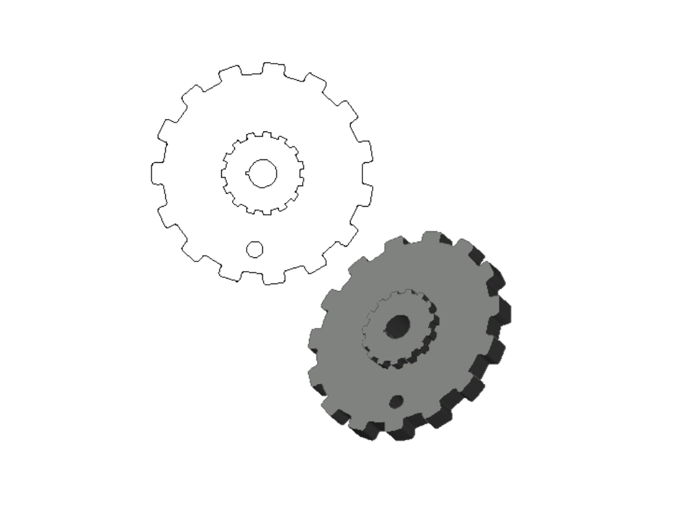 Creation of a double gear in 3d autocad