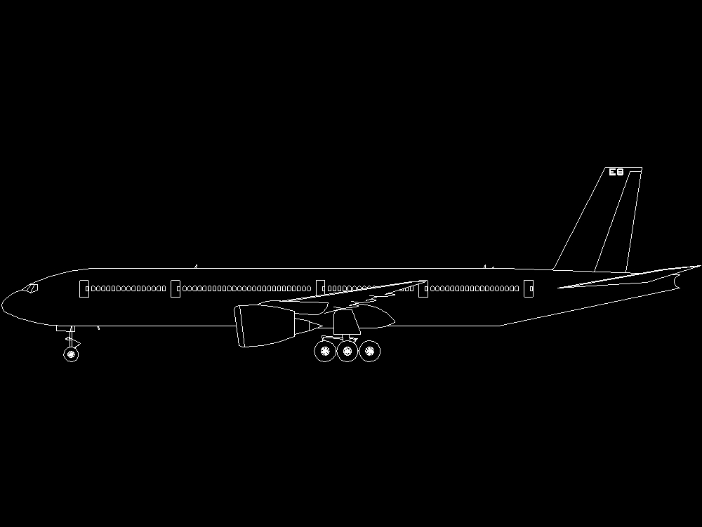Boeing 777 plane with landing gears.
