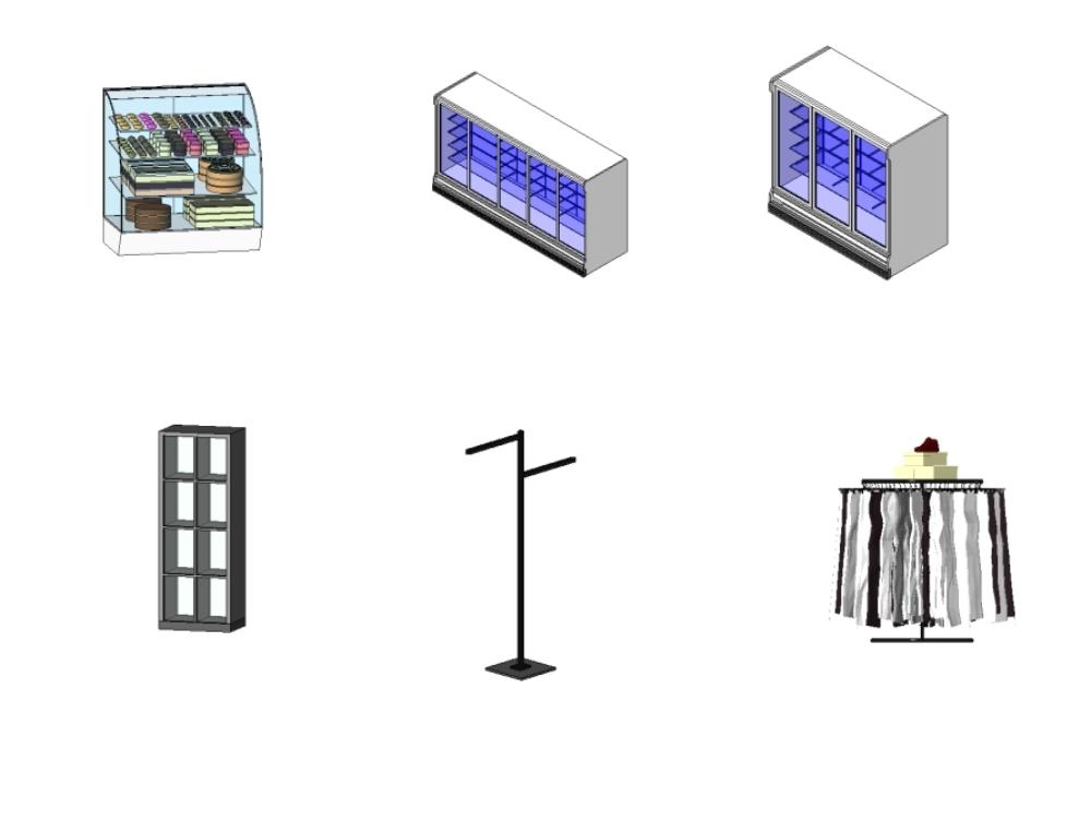 Pack de 67 objetos para equipamiento de comercio revit