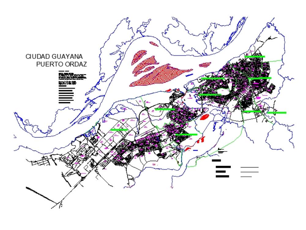 Map / map of guayana city (venezuela); year 1999