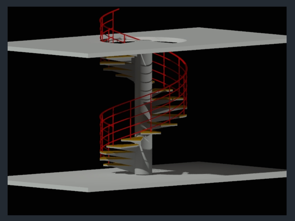 3d spiral stairs for home room