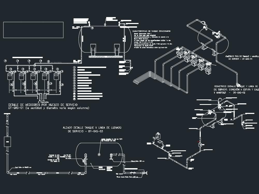Detalle de tanque de gas y manifold.