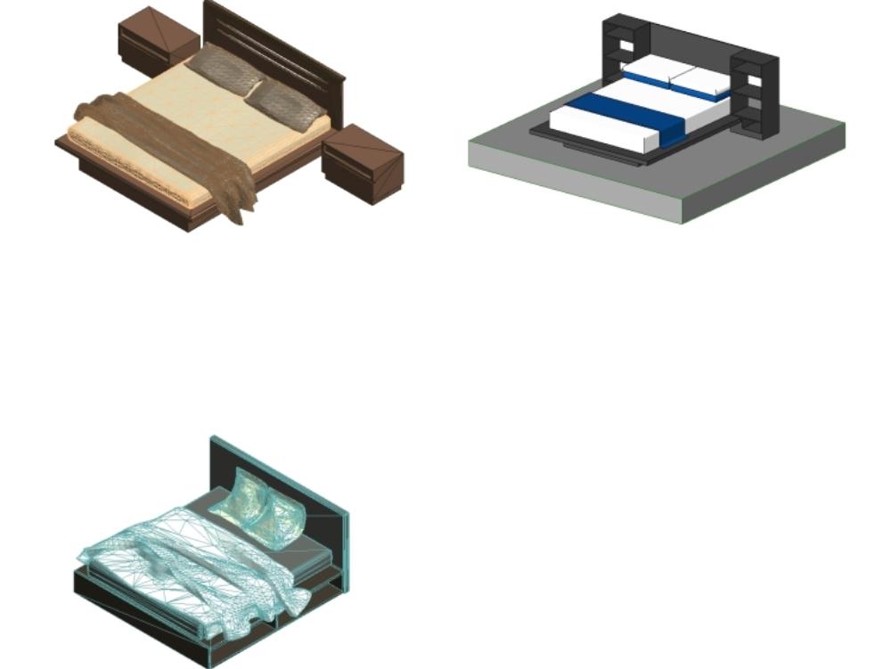 Mobiliario de camas- hatacion para revit