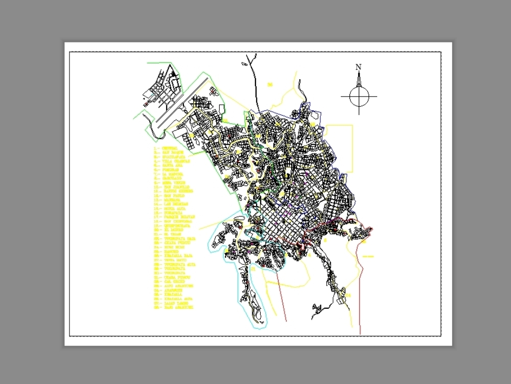 Cadastral map of the city of Sucre