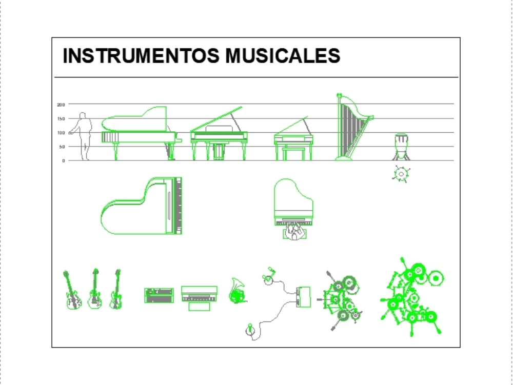 Bloques autocad de instrumentos musicales