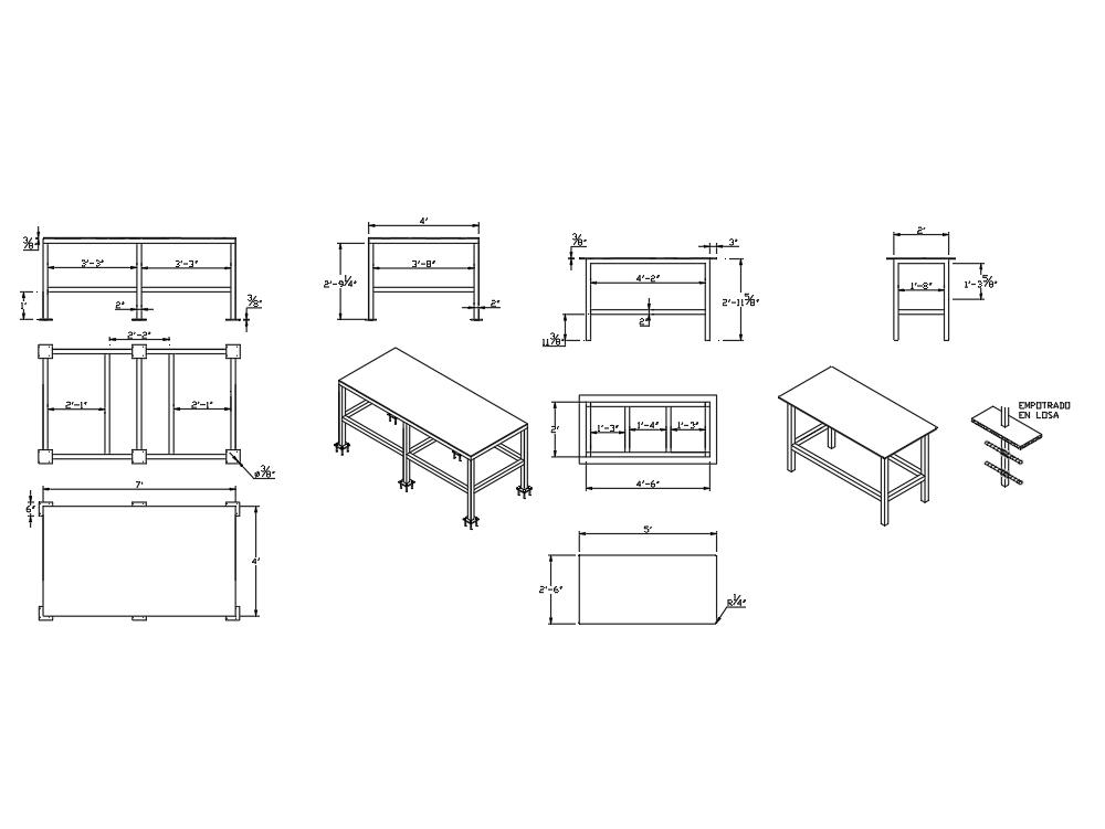 Diseño de una mesa de trabajo para taller