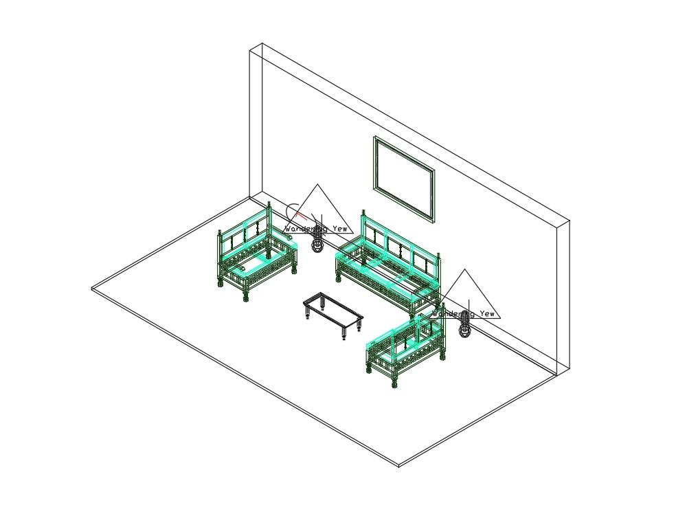 Muebles de sala  ( 3 sillones; mesa de centro; y 2 lamparas)