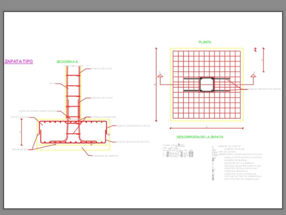 Zapata in AutoCAD   Download CAD free (36 67 KB)   Bibliocad