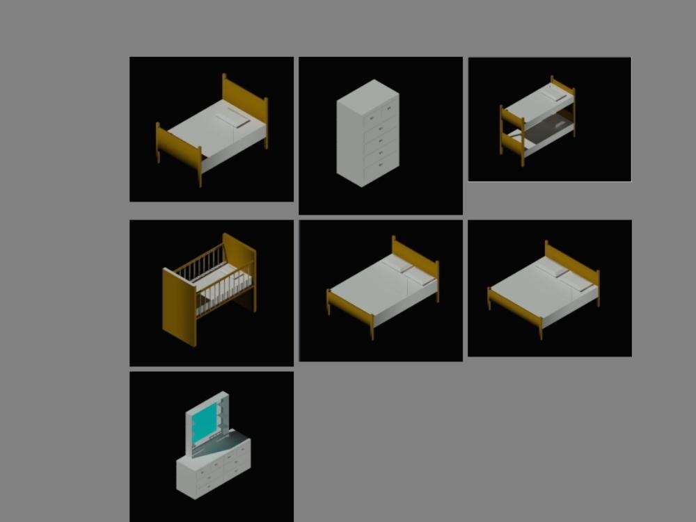 Bloques 3d para amoblar habitacion