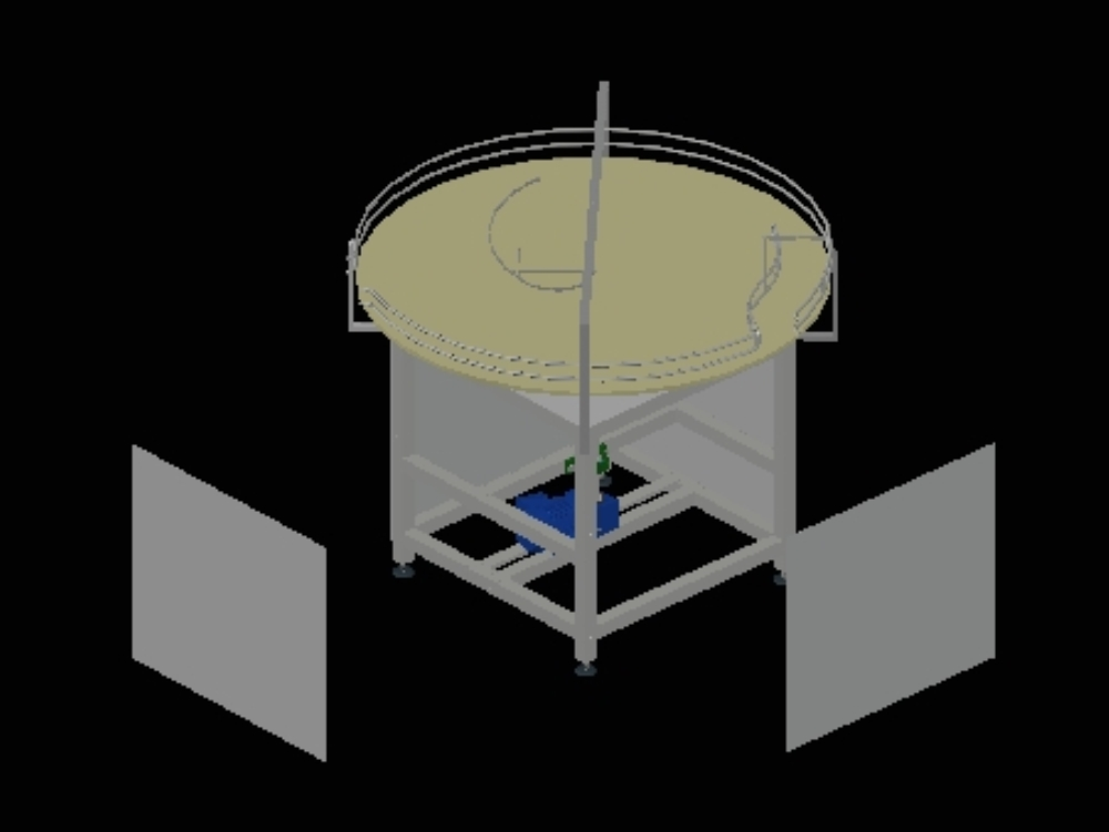 Rotating table and conveyor for cans