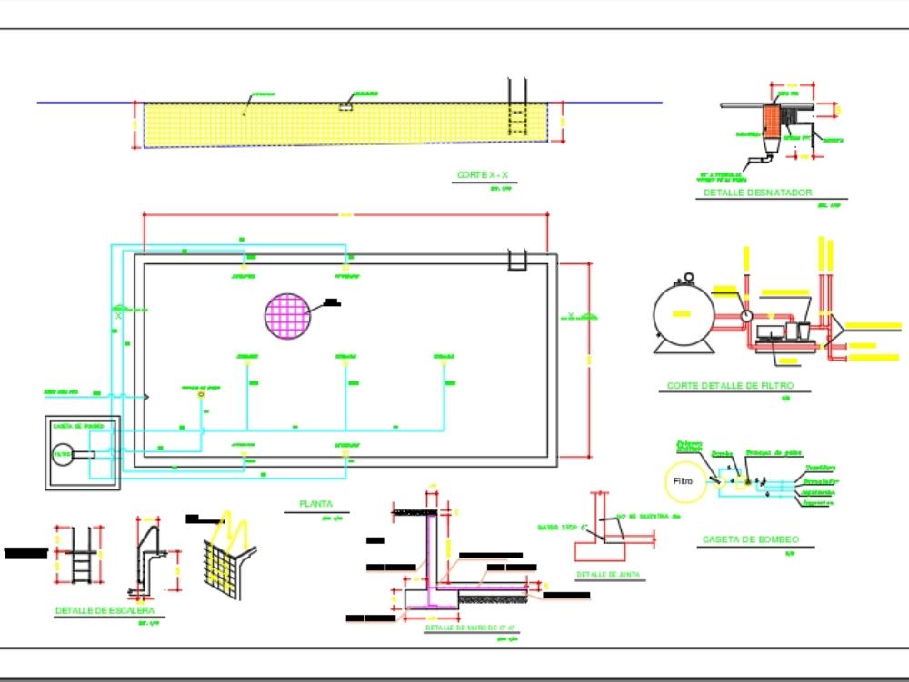 Sistema hidraulico completo para piscina de recreo
