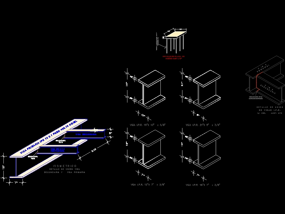 Detalles de conexiones de estructura metálica