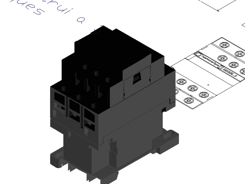 Dibujo técnico de contactor en 2d y 3d