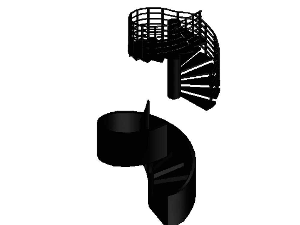 Two spiral staircases (3d autocad)