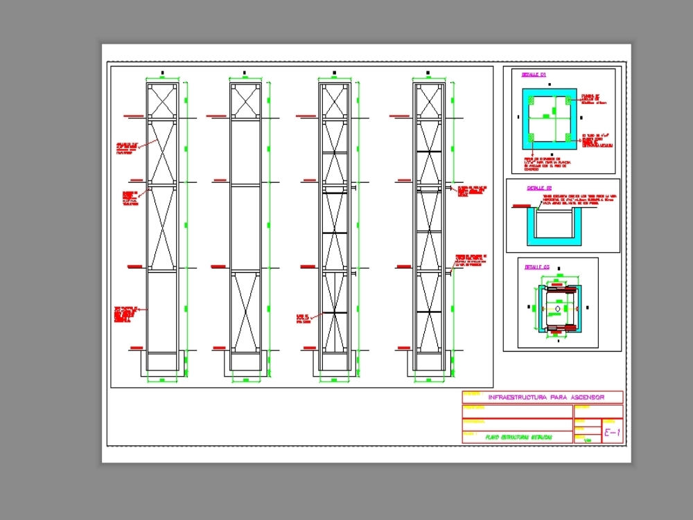 Infraestructura metálica para ascensor