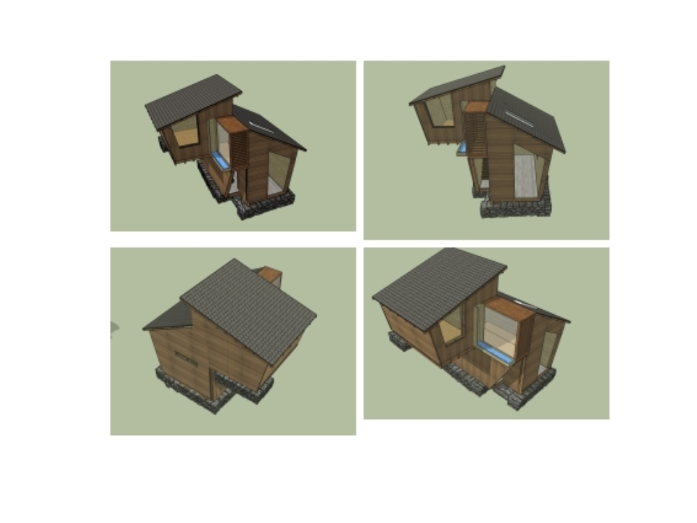 Cabanon; construction system of wood and stone