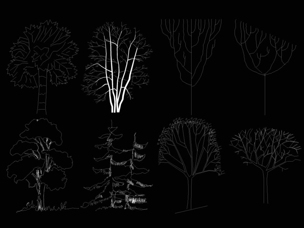 Trees and vegetation autocad blocks