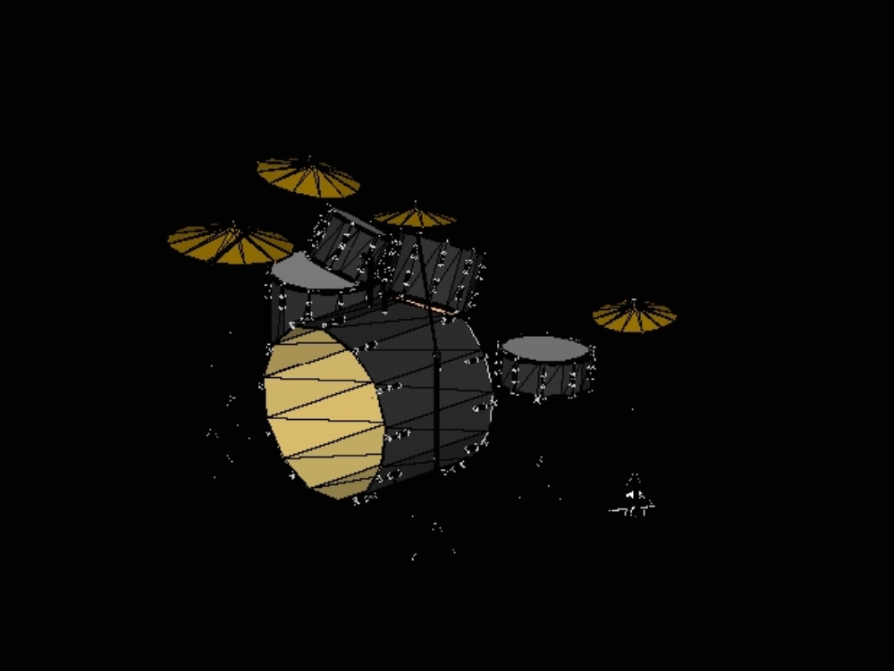 Black three-dimensional musical drums