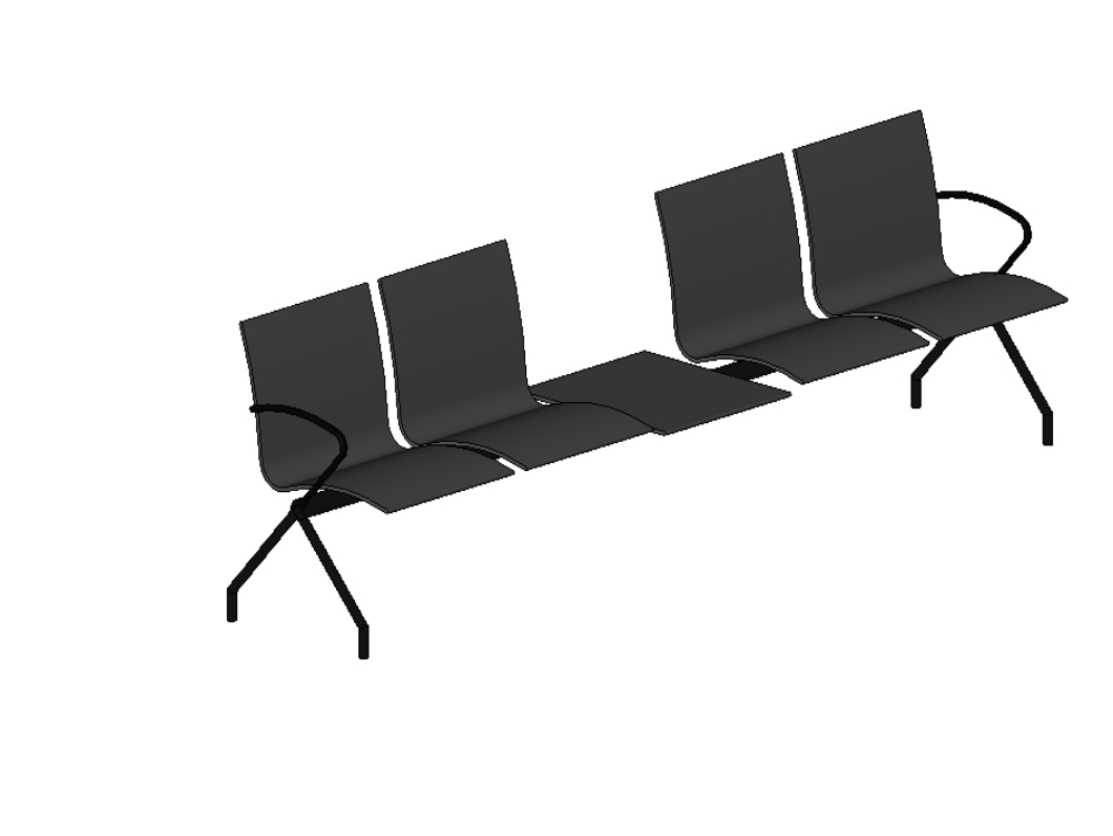 Waiting chairs for 4 people with intermediate space