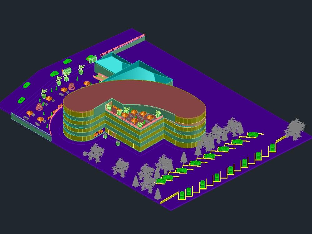 Plaza de mercado 3d ubicados con sus locales