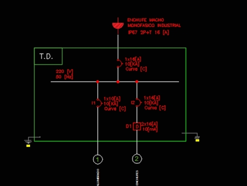 Unilinear plan of a 16-phase single-phase electrical board [a]