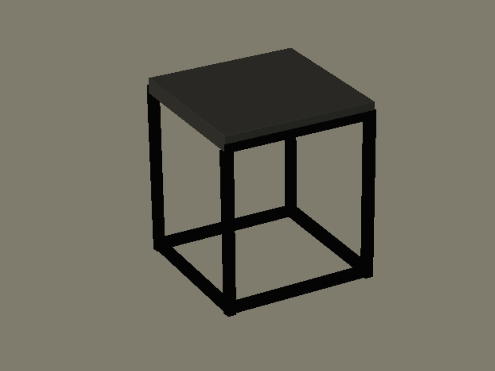 Iron and wood table - cube model