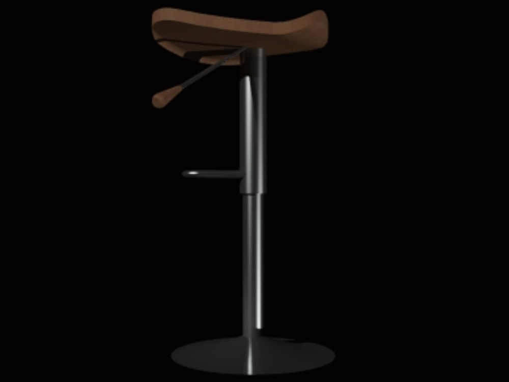 Stool metal frame and rounded wooden seat 3d