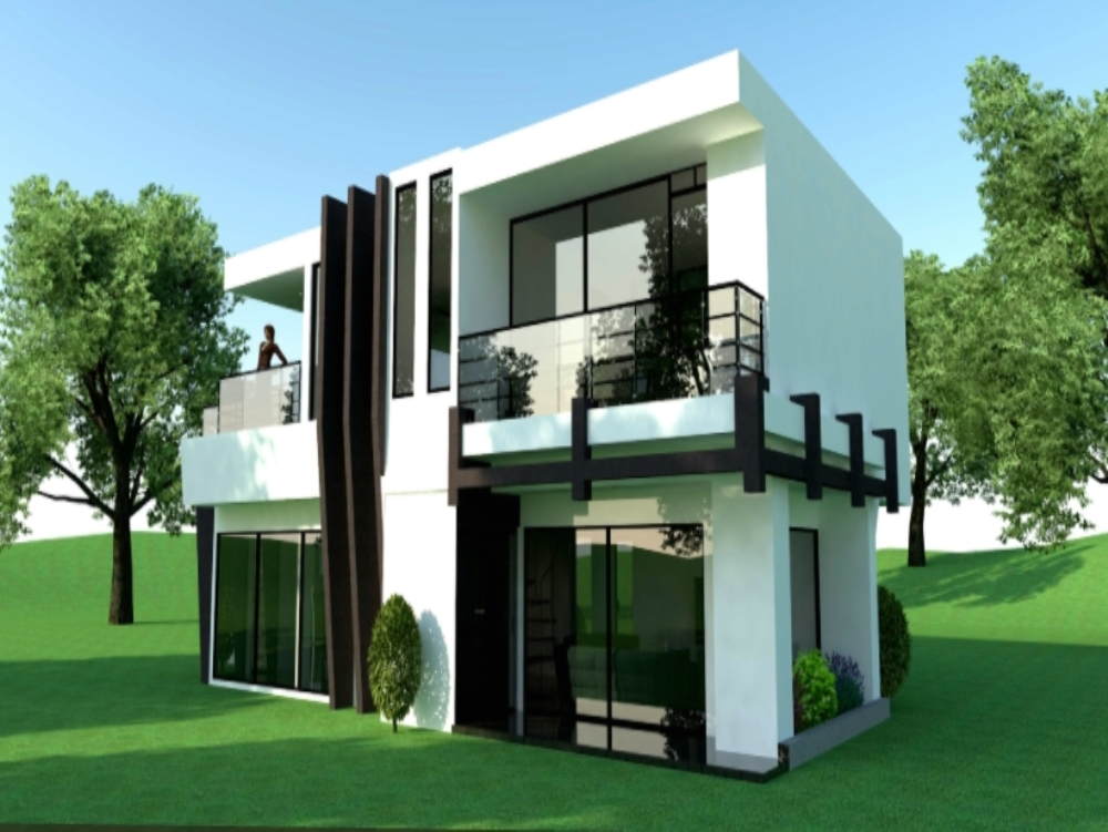 3d view of modern two-story house