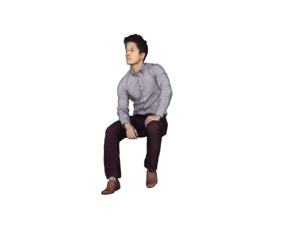 Hombre sentado 3d