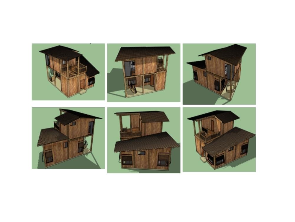 Cabaña diseñana con elementos de bambú