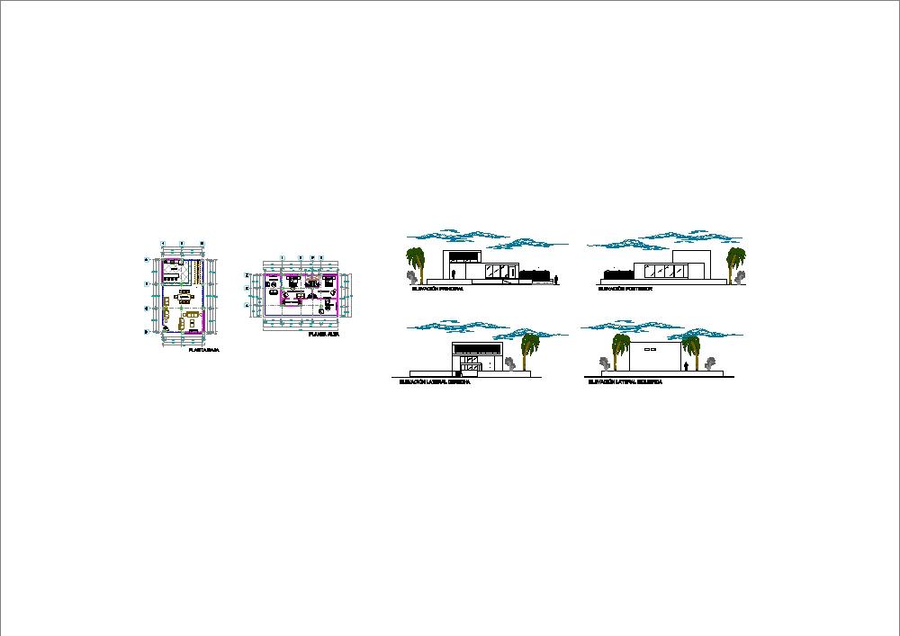 Casa minimalista de playa con cortes y elevación