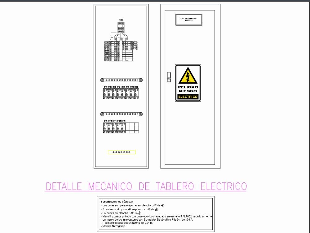Detalle mecanico de tablero electrico