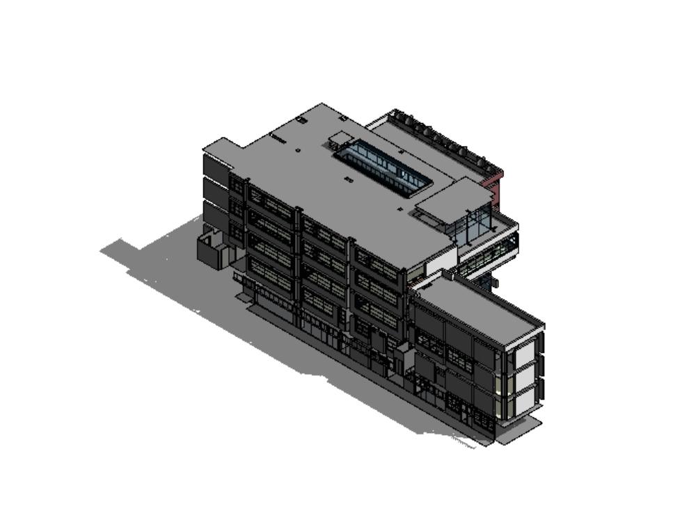 Edificio de 8 pisos; edificio auxiliar de mantenimiento