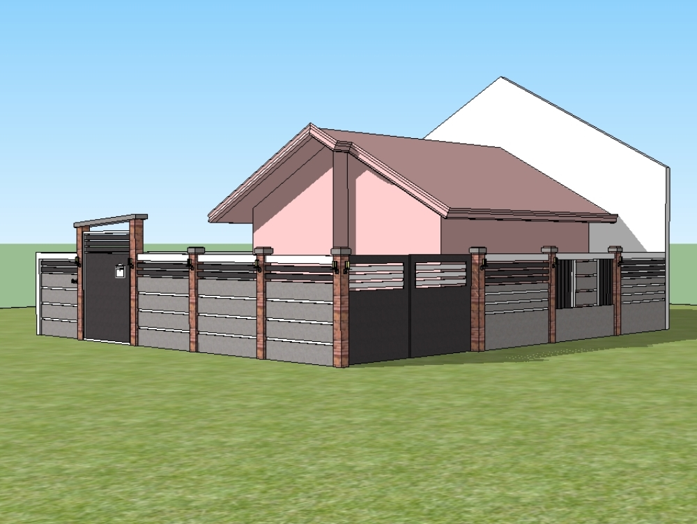 Two-bedroom pink house perspective