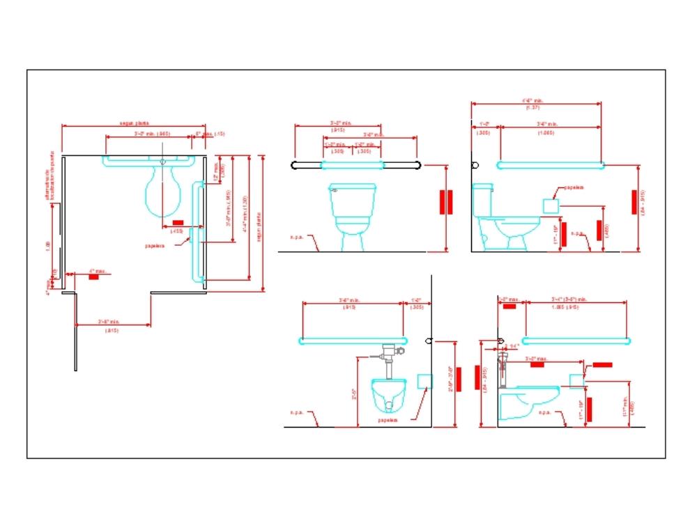 Detalles del diseño del inodoro.