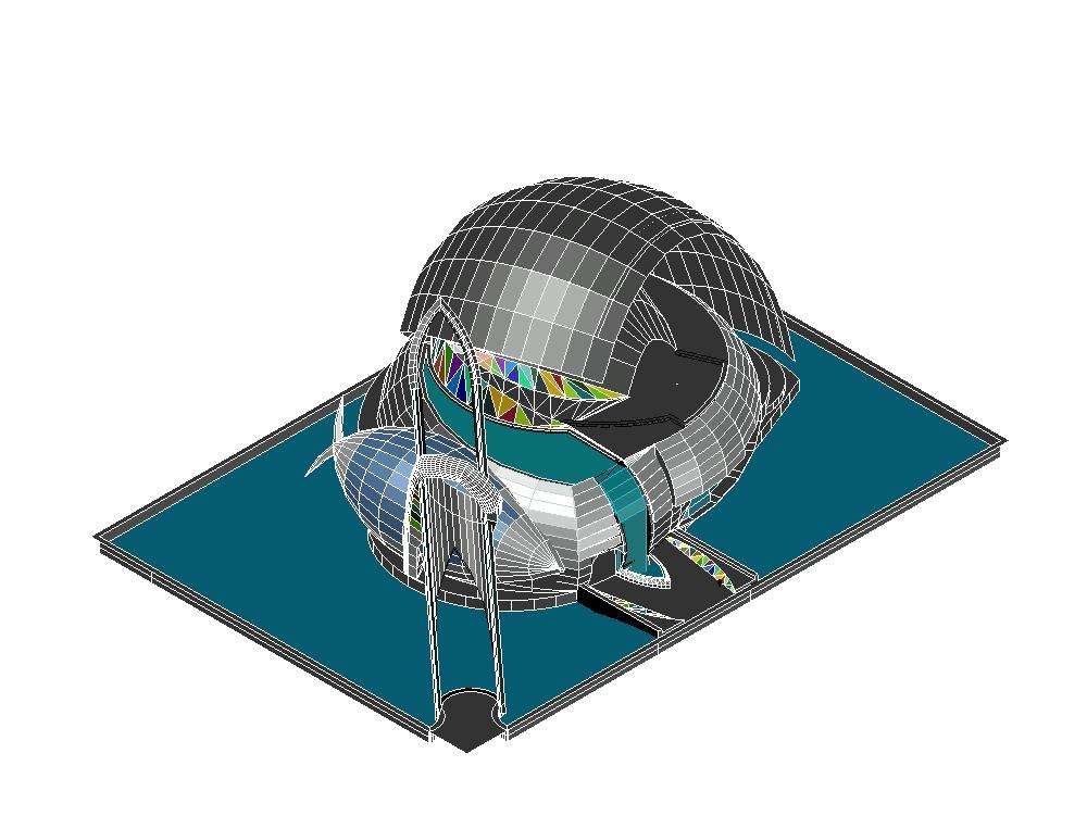 Snail shaped auditorium 3d model and concept