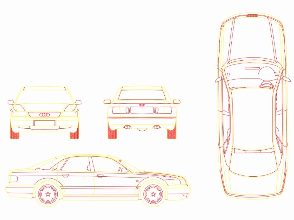 Multi-view car dynamic block autocad
