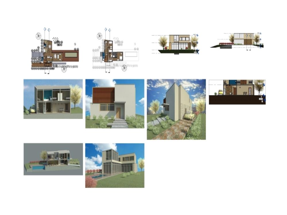 Proyecto de vivienda de dos niveles revit